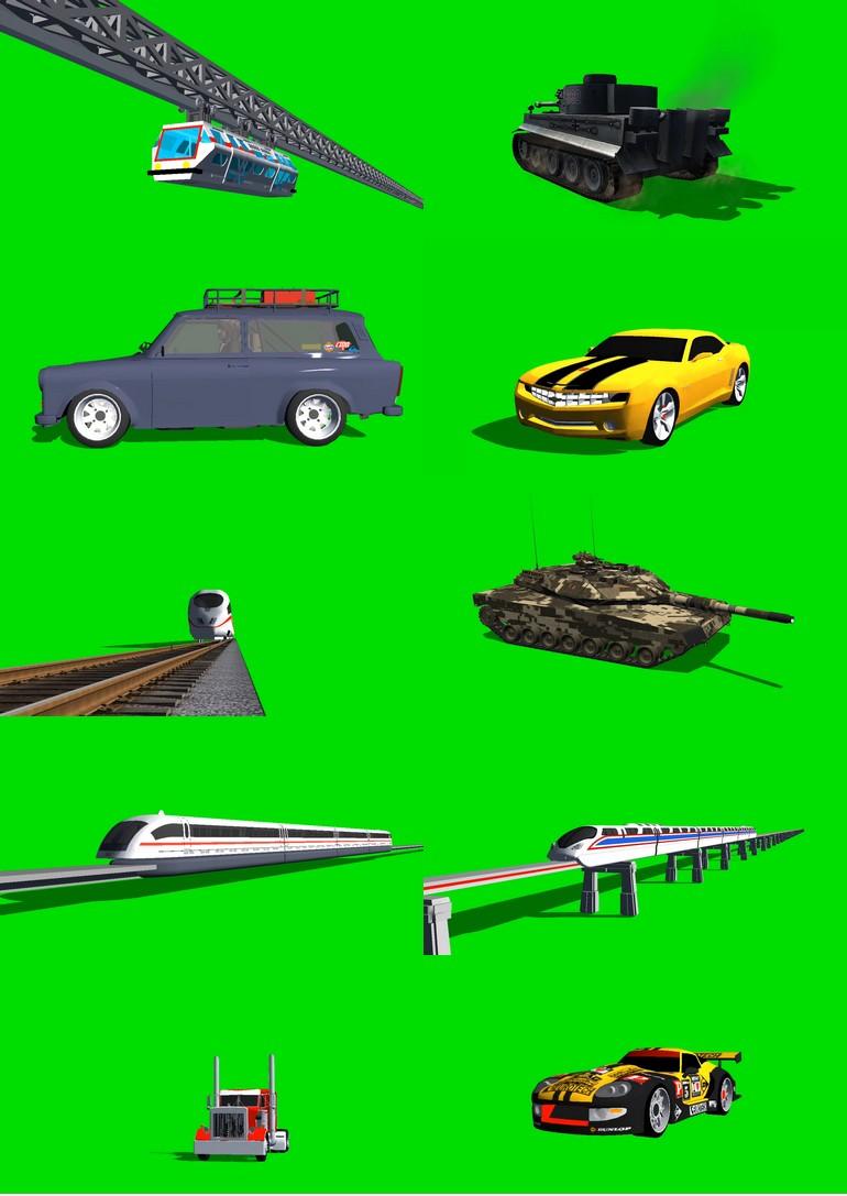 绿屏_绿布_绿幕汽车轿车|卡车|战车|坦克|变形金刚|各种车辆视频素材打包100部第二套