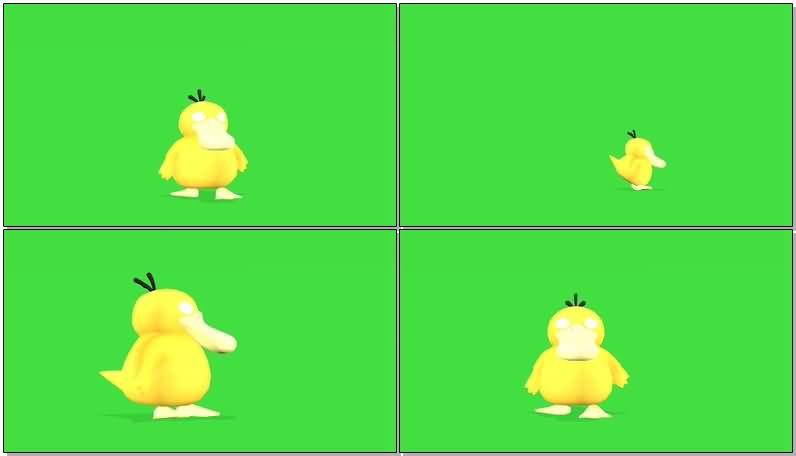 绿屏抠像卡通小黄鸭视频素材