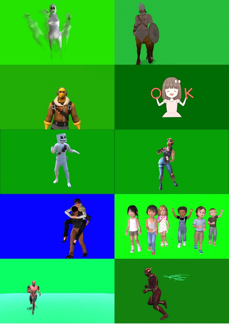 绿屏_绿布_绿幕人物|人像|真人|卡通人物|人群视频素材打包100部第三套