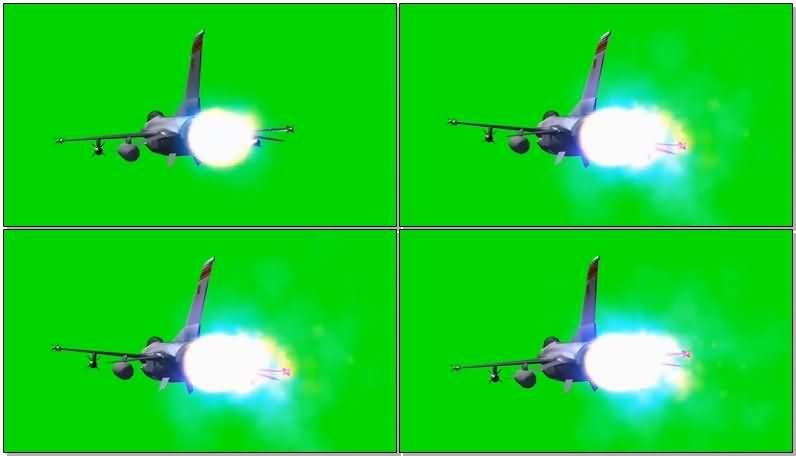 绿屏抠像飞行的战斗机视频素材