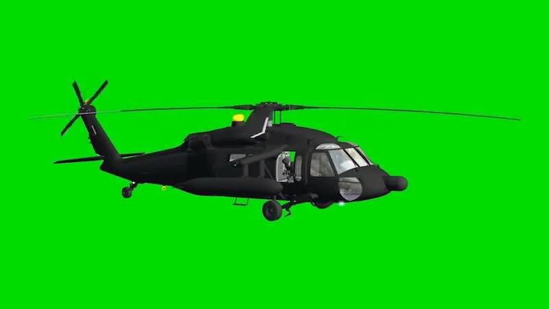 绿屏抠像军用直升机视频素材