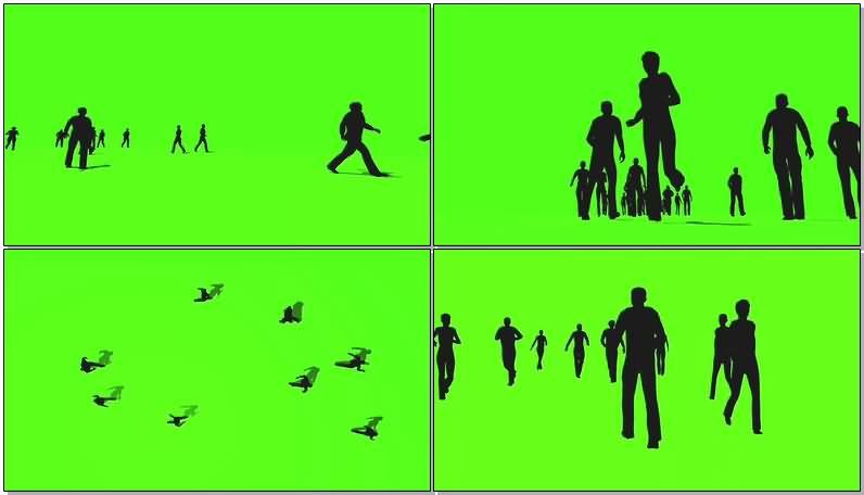 绿屏抠像走路的人群视频素材