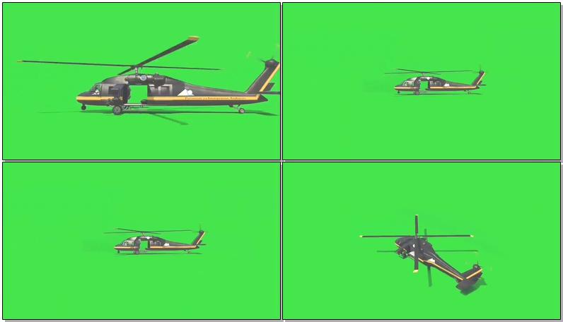 绿屏抠像运输直升机视频素材