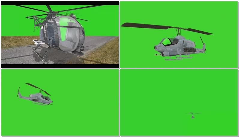 绿幕视频素材军用直升机
