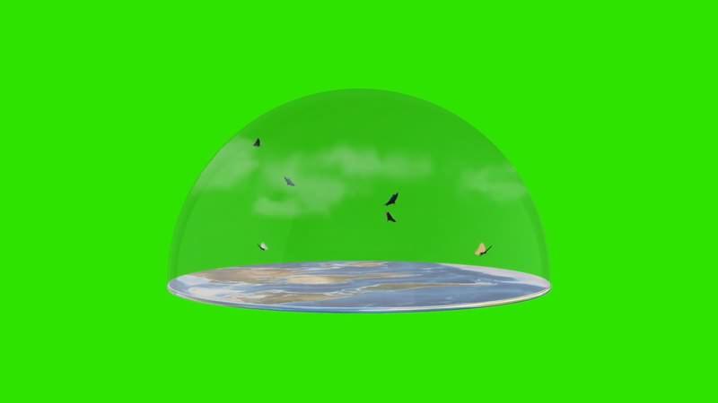 绿幕视频素材地球水晶罩