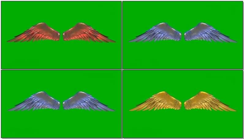 绿幕视频素材彩色翅膀
