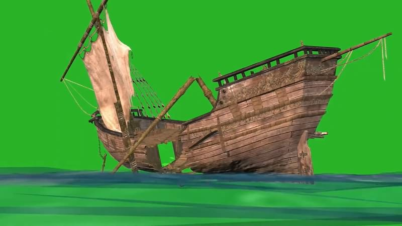 绿幕视频素材沉船
