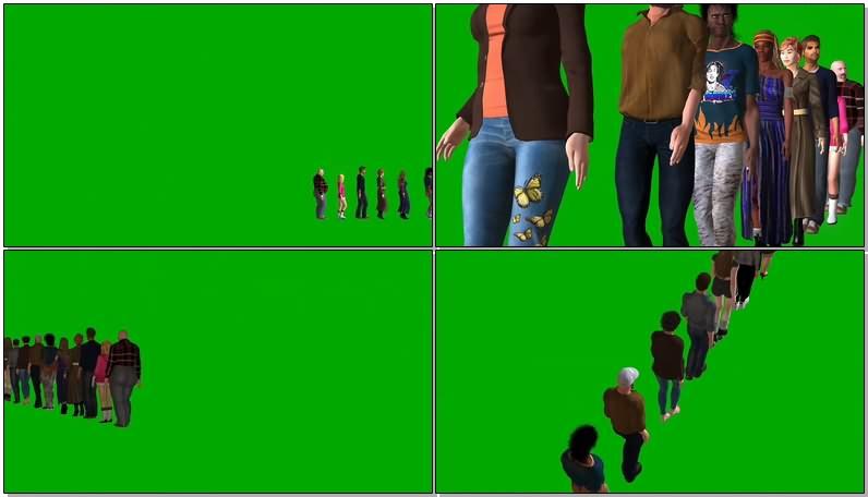绿幕视频素材排队的人群