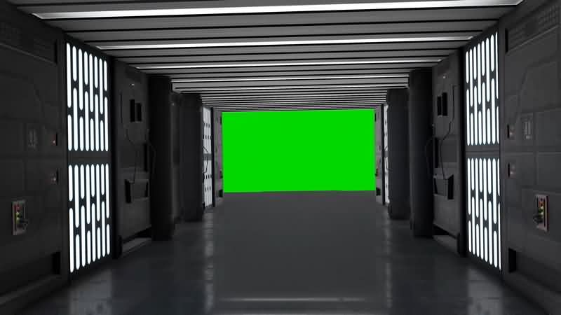 绿幕视频素材飞船走廊