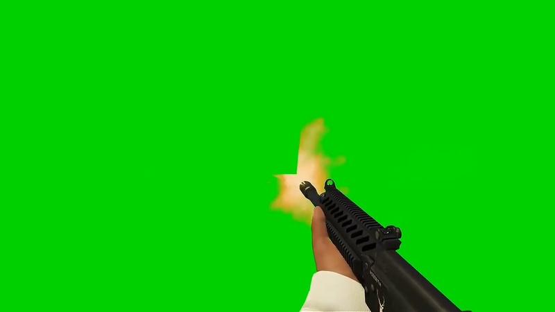 绿幕视频素材M416射击