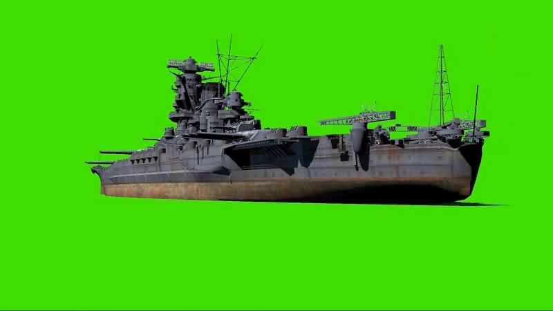 绿幕视频素材军舰