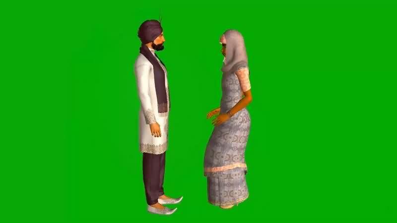 绿幕视频素材印度男女