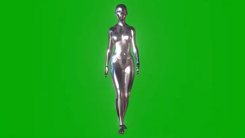 绿幕视频素材女机器人