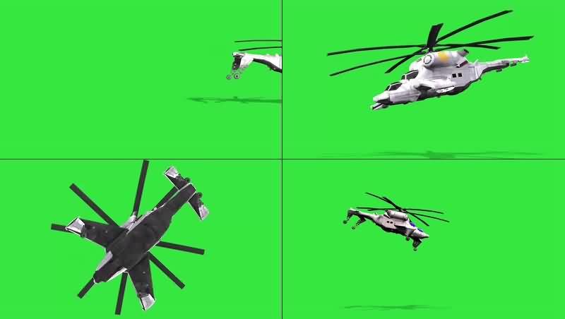 绿幕视频素材直升机