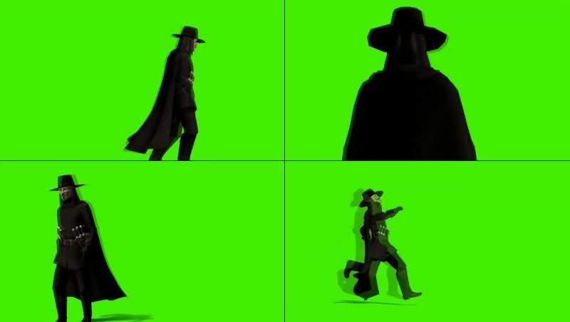 绿幕视频素材V字仇杀队