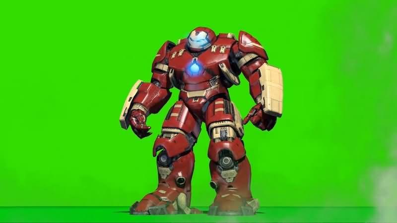 绿幕视频素材钢铁侠反浩克装甲