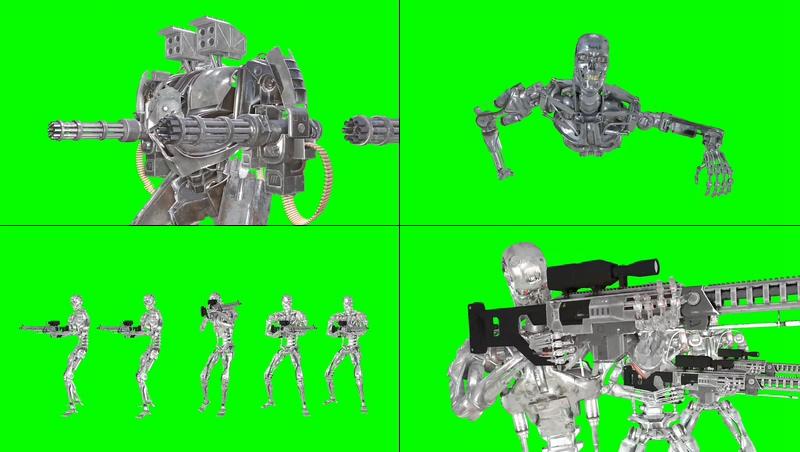 绿幕视频素材终结者机器人