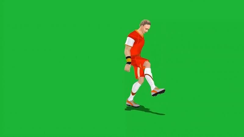 绿幕视频素材足球运动员