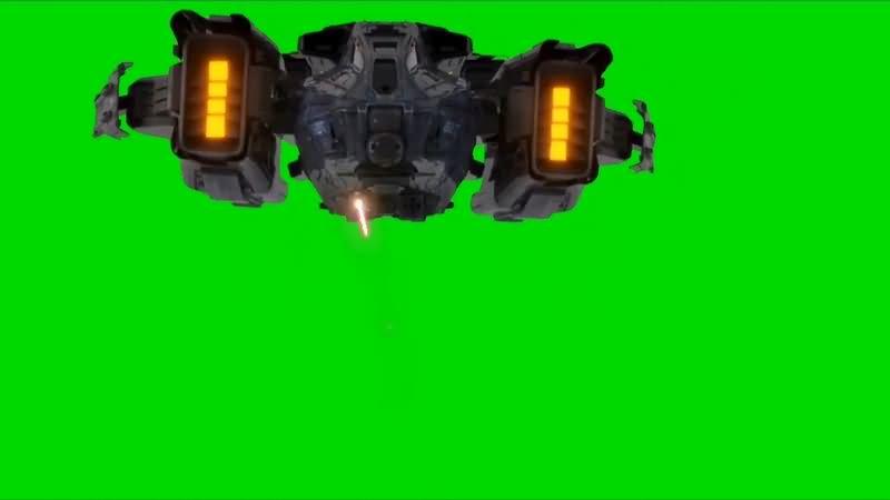 绿幕视频素材飞船攻击