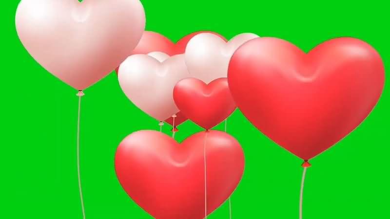 绿幕视频素材爱心气球
