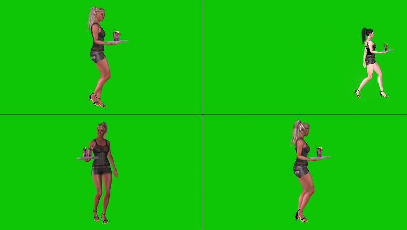 绿幕视频素材女招待