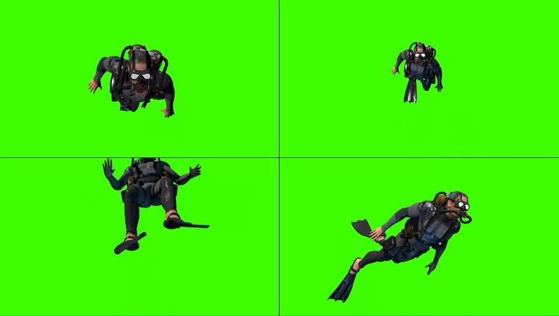 绿幕视频素材潜水员