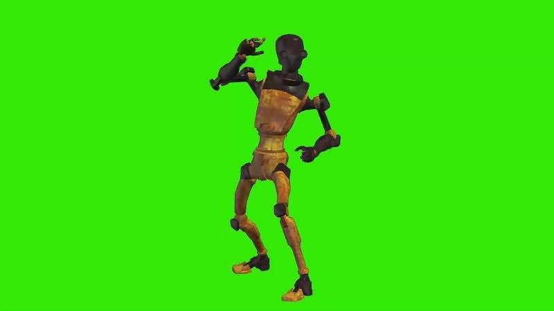 绿幕视频素材战斗的机器人