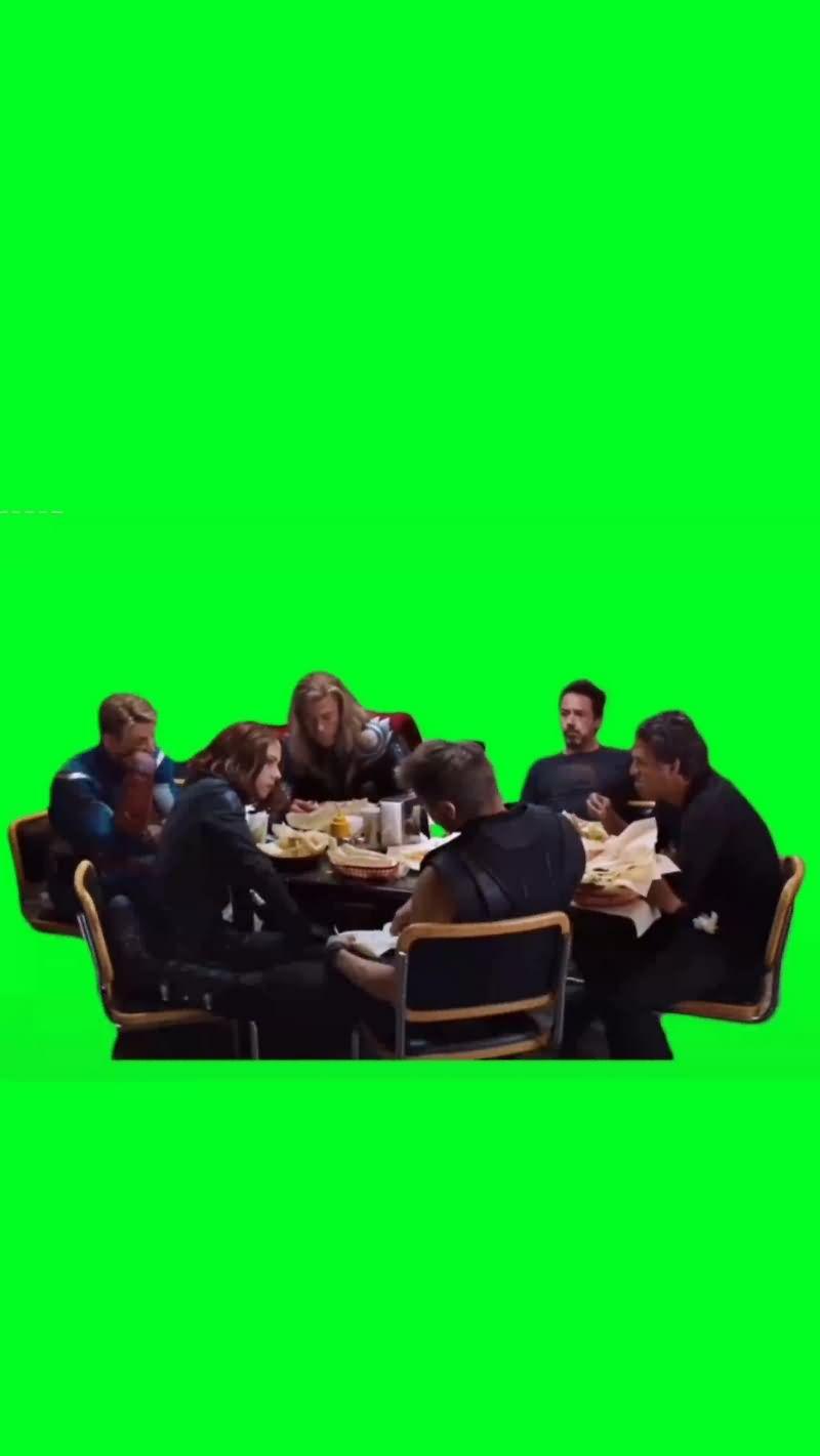 绿幕视频素材超级英雄吃饭