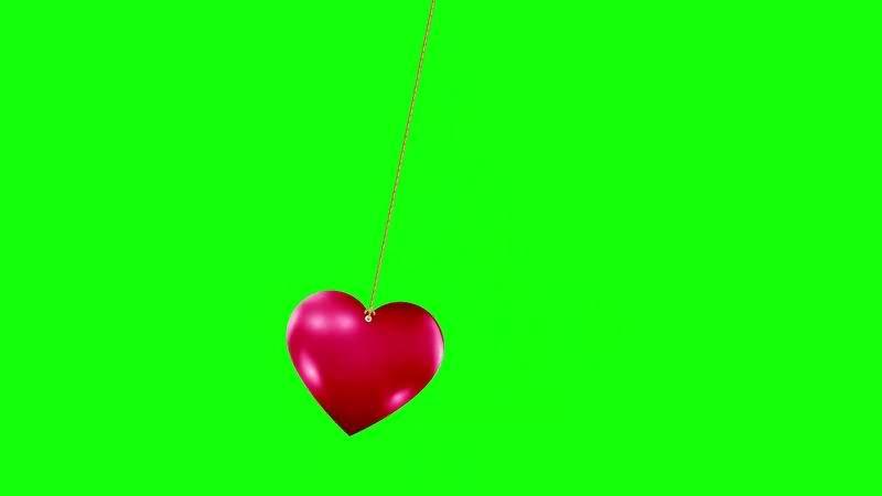 绿幕视频素材爱心挂饰