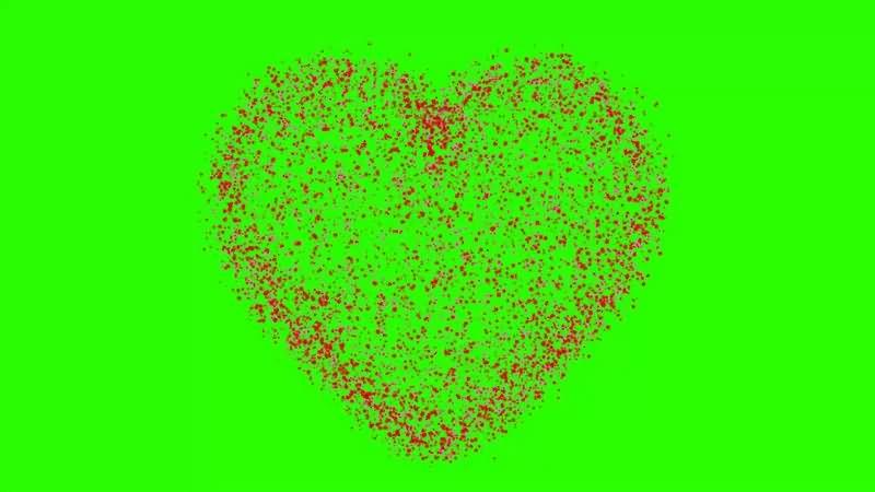 绿幕视频素材粒子爱心
