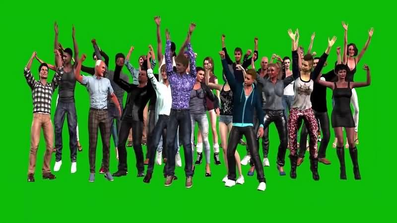 绿幕视频素材人群欢呼