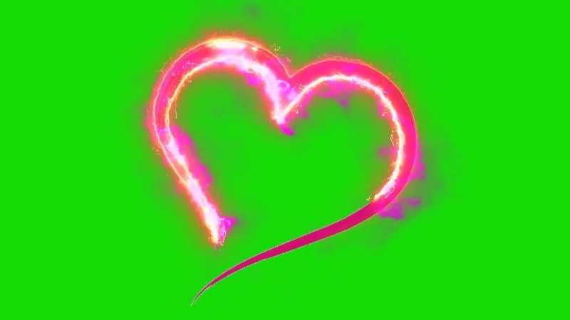 绿幕视频素材火焰爱心
