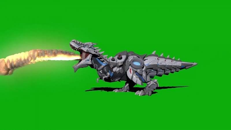 绿幕视频素材机械霸王龙