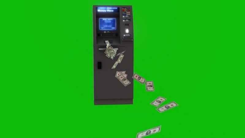 绿幕视频素材ATM取款机