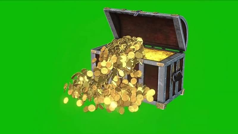 绿幕视频素材金币宝箱