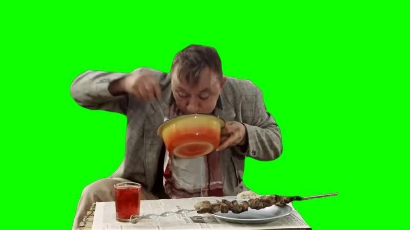 绿幕视频素材吃饭男人