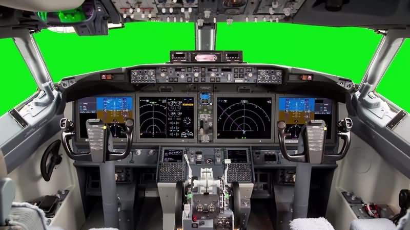 绿幕视频素材飞机驾驶舱