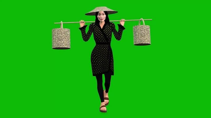 绿幕视频素材挑水农妇