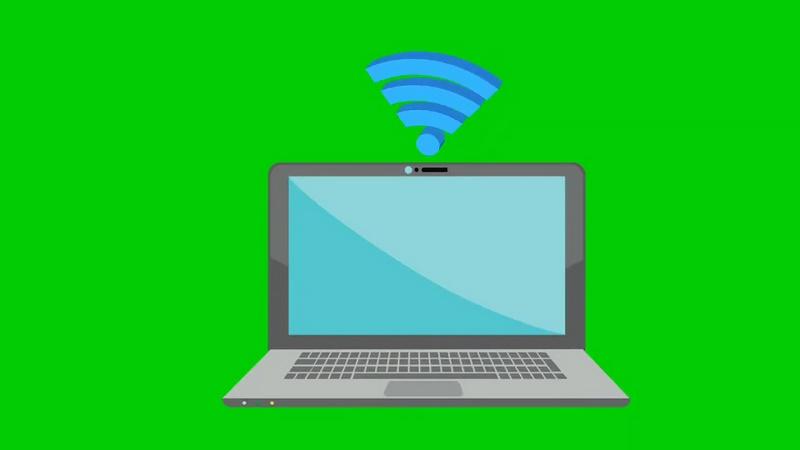 绿幕视频素材电脑WIFI