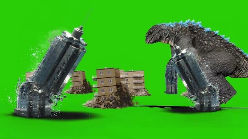绿幕视频素材哥斯拉
