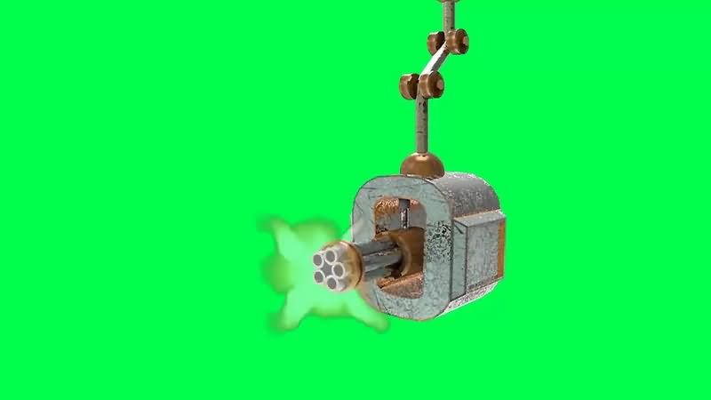 绿幕视频素材加特林机枪