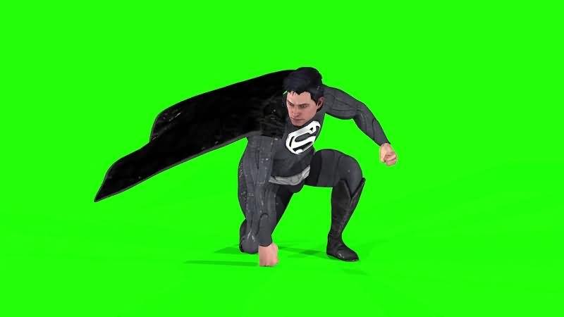 绿幕视频素材黑衣超人