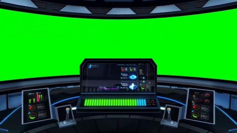 绿幕视频素材飞船控制仓