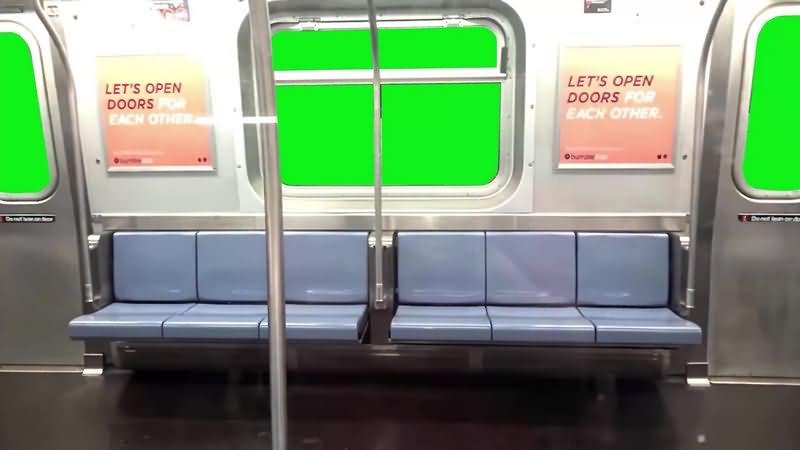 绿幕视频素材地铁车厢
