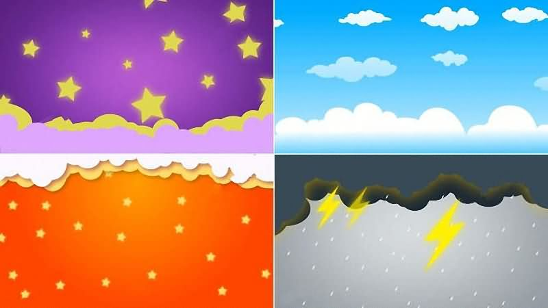 儿童系列卡通天空背景循环视频素材