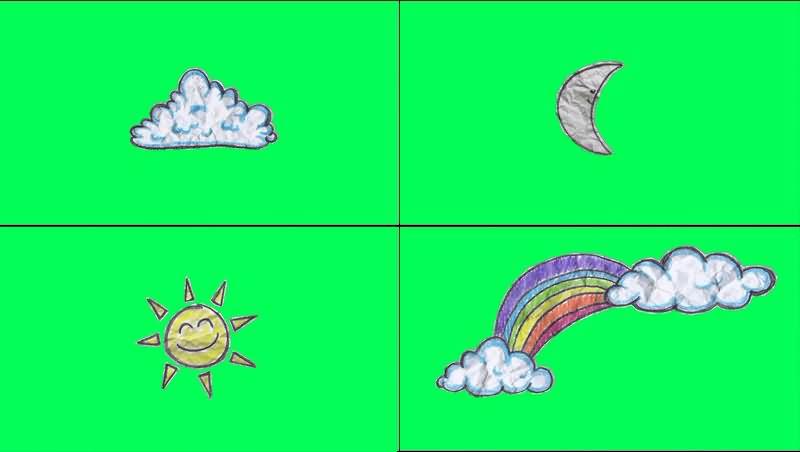 绿幕视频素材太阳月亮云朵