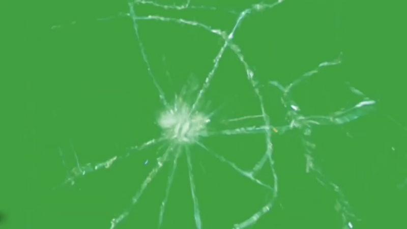 绿幕视频素材玻璃破碎